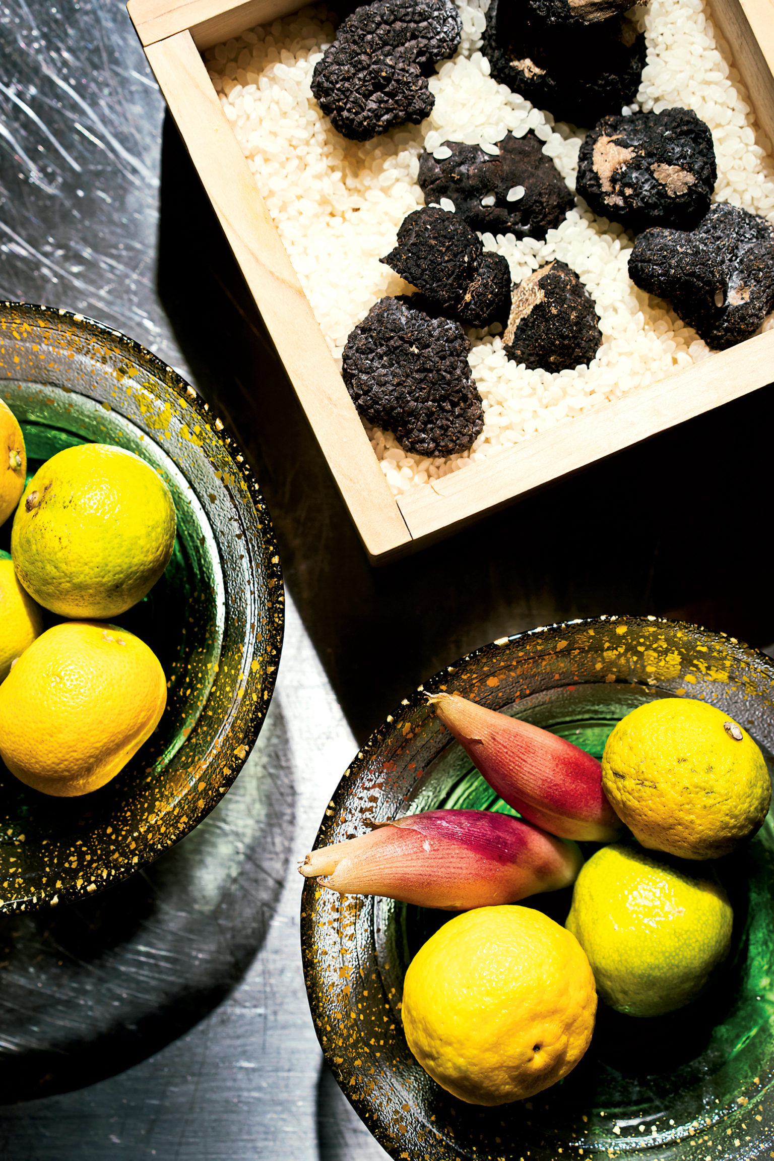 The Tjan brothers love to mix Eastern and Western flavors. They use yuzu, lime-like sudachi, and ginger blossoms from Japan alongside Burgundy black truffles.