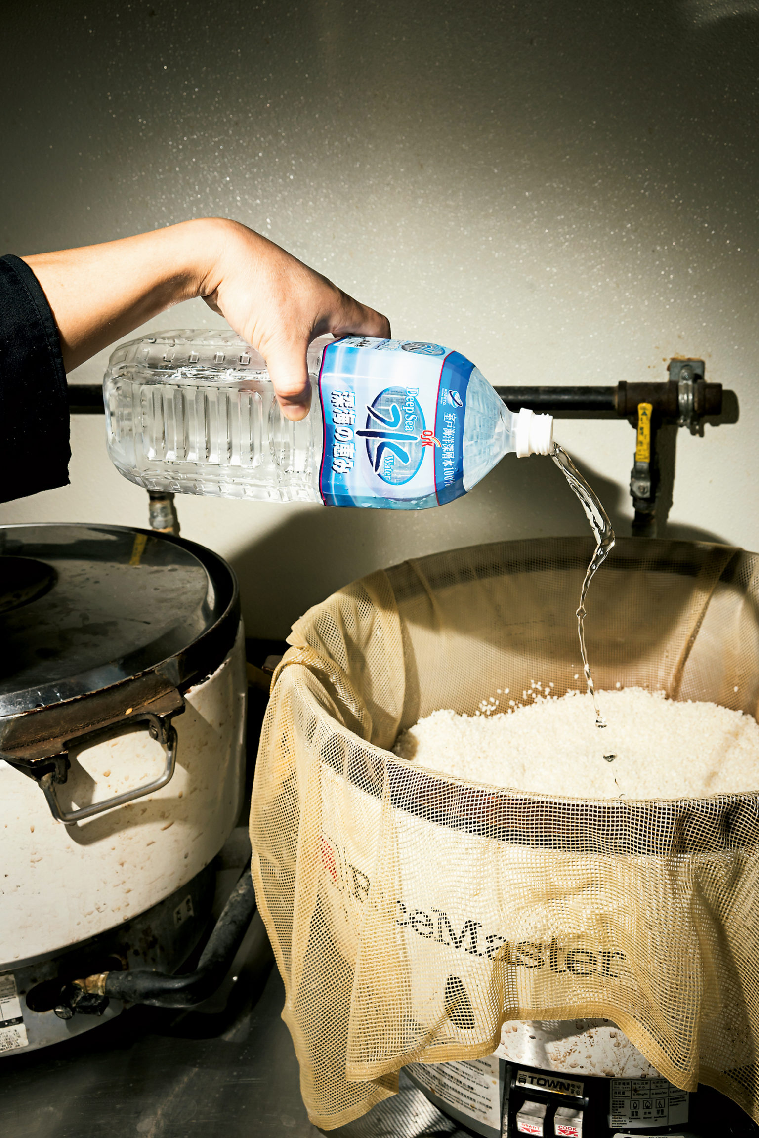 Kobo imports 1,200 bottles of deep-sea water from Japan every three months. The chefs say the neutral, softer water makes the rice—like New York bagels—better.