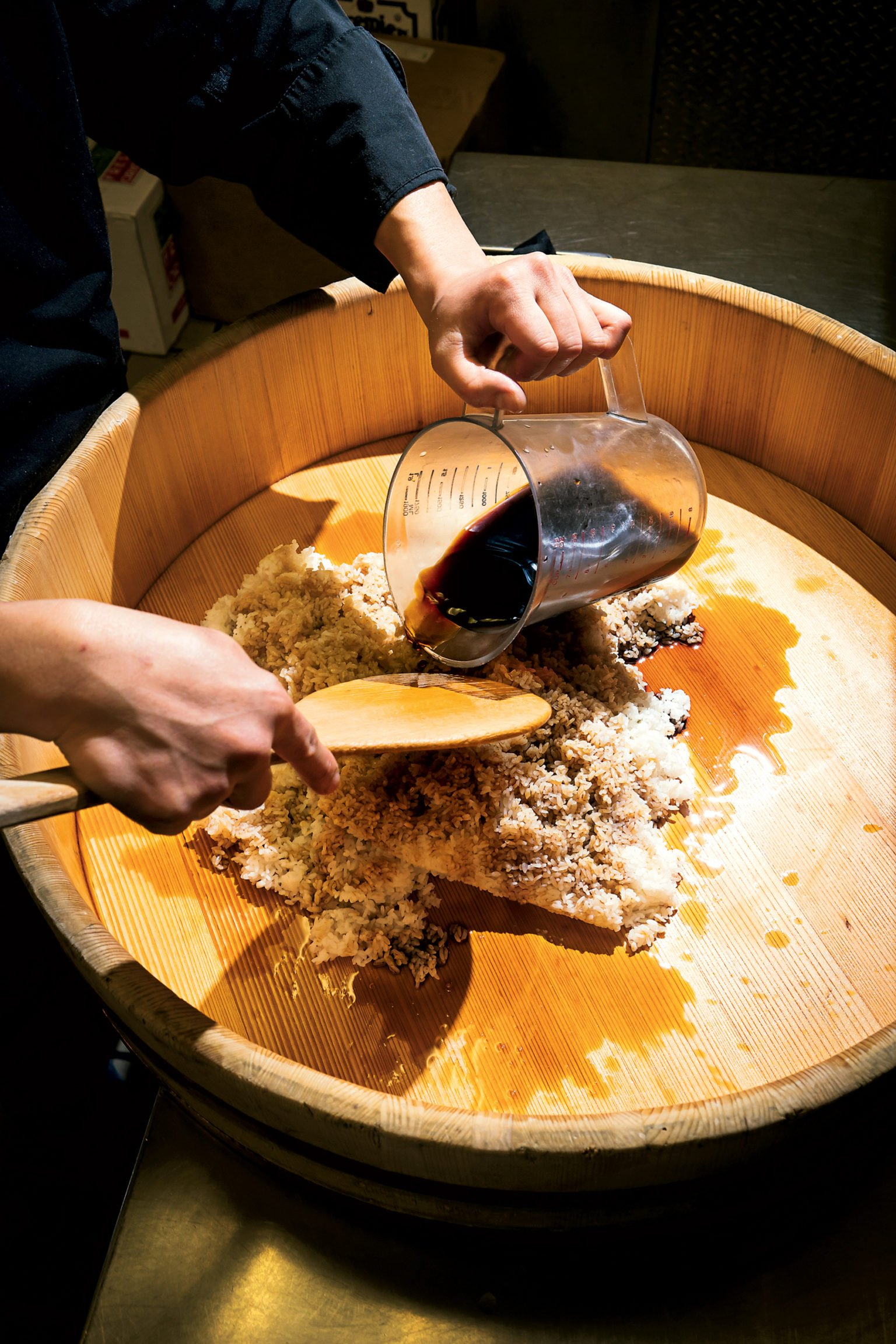Rice takes on a dark color thanks to red vinegar aged three to six years from sake lees (sediment). Kobo is the only area restaurant that uses the prized product.