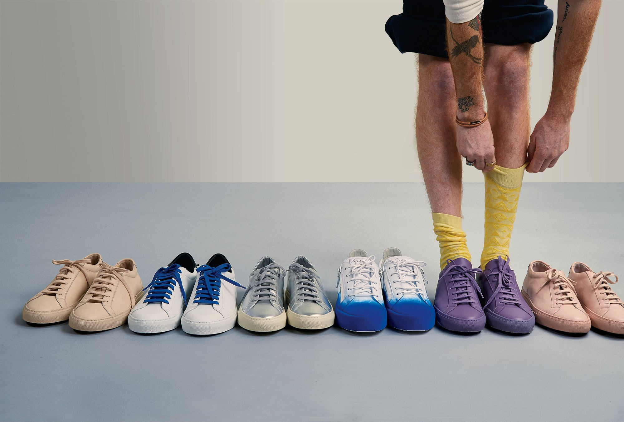 Bright socks and elevated sneakers are on the menu this spring. Photograph by Sean Scheidt.