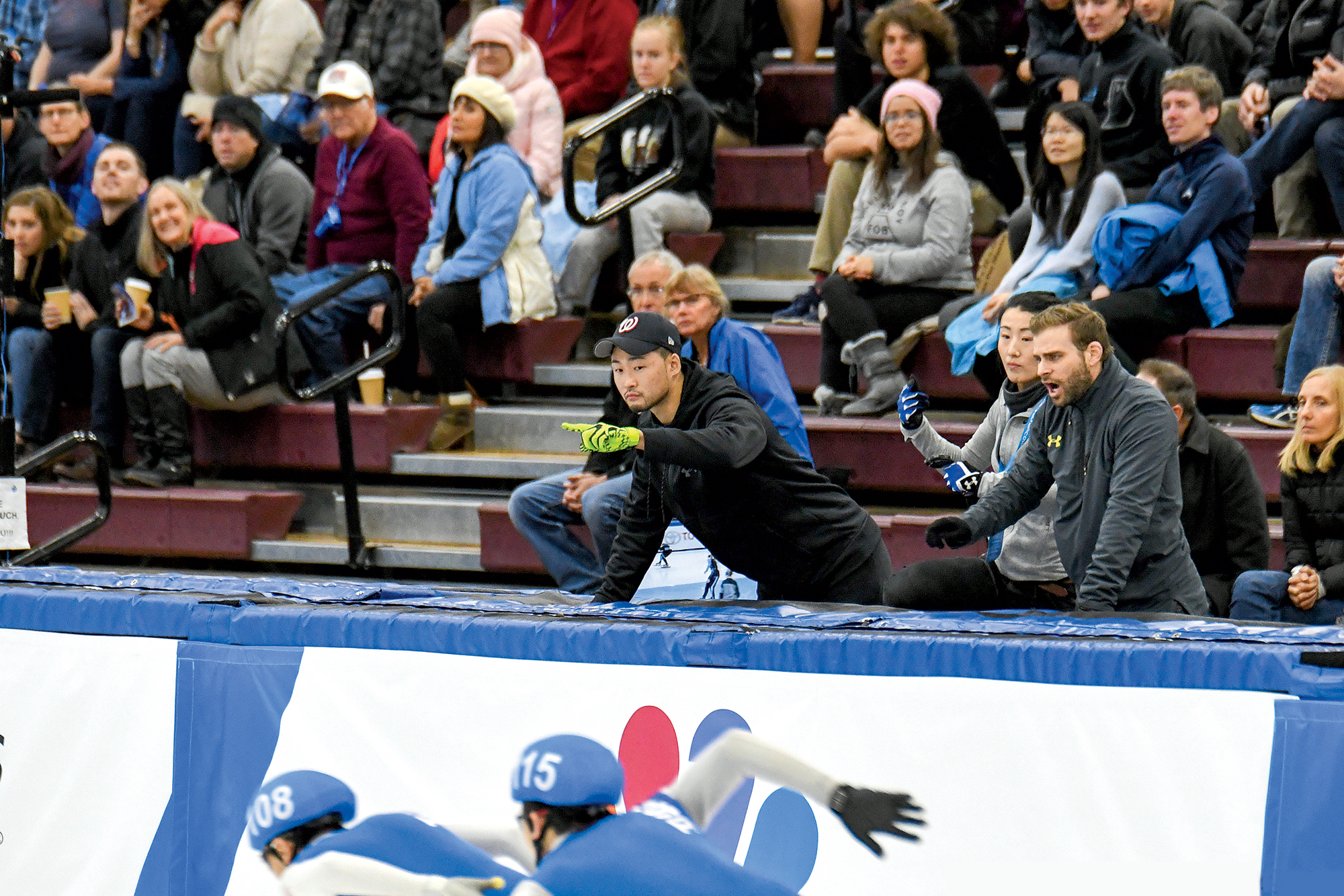 Cho (above center) returned to the Olympic Trials last year as coach of his own teenage prodigy. The young skater didn't make it—but Cho says his future will be bright. Photograph by John Kim.