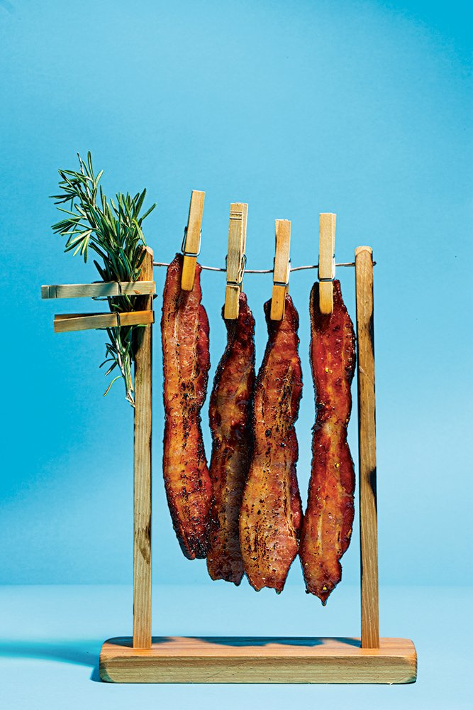 "Left: Custom-made ""clothesline"" for bacon at BLT Prime."