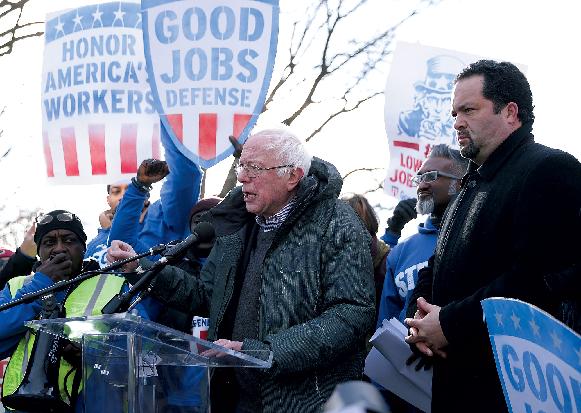 Vermont senator Bernie Sanders and Ben Jealous join forces during a protest on Capitol Hill in early 2017. Photograph by Alex Wong/Getty Images.