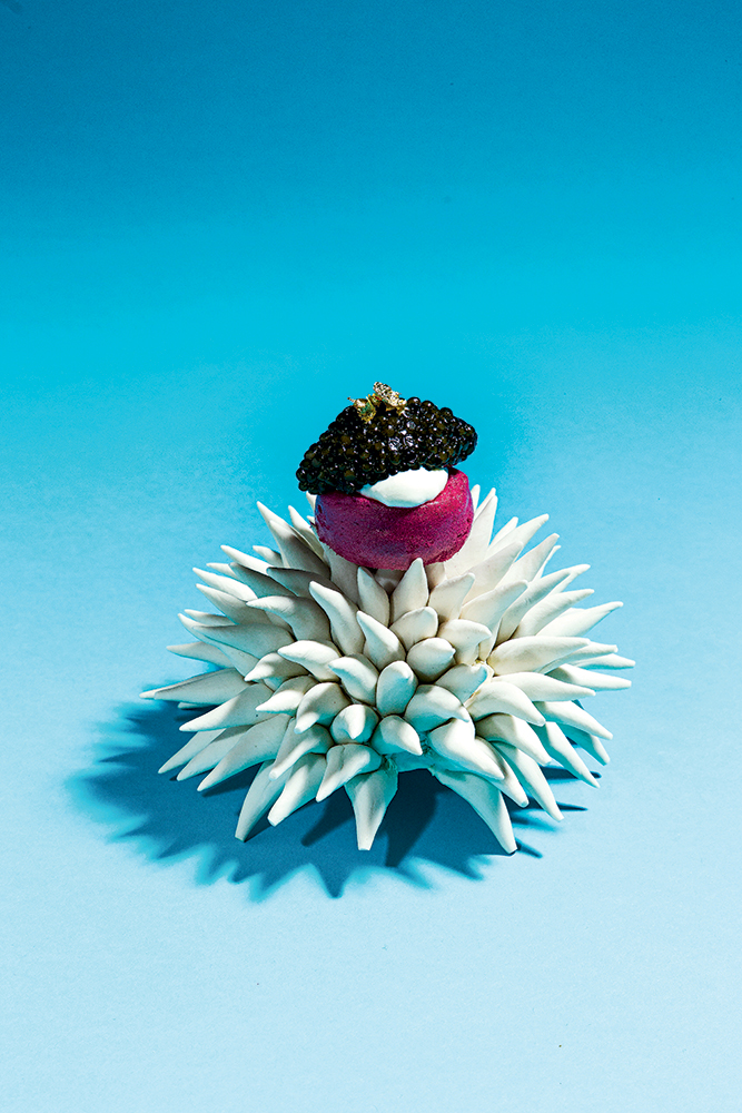 Handmade porcelain sea-urchin bowl for beet meringue and caviar at Minibar.