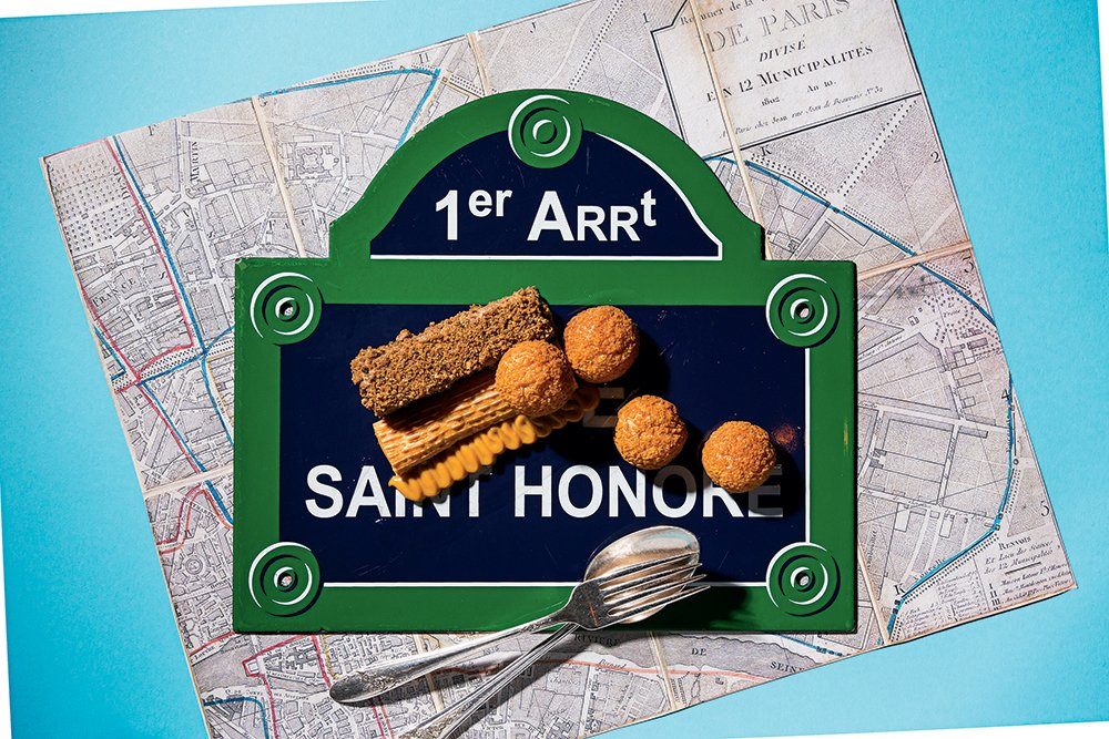 Top: Enamel street sign and Paris map for Saint-Honoré cake at Métier.