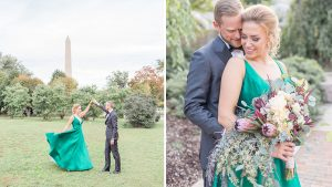 This Capitol Hill Bride Broke Tradition with a Stunning Emerald Green Wedding Gown