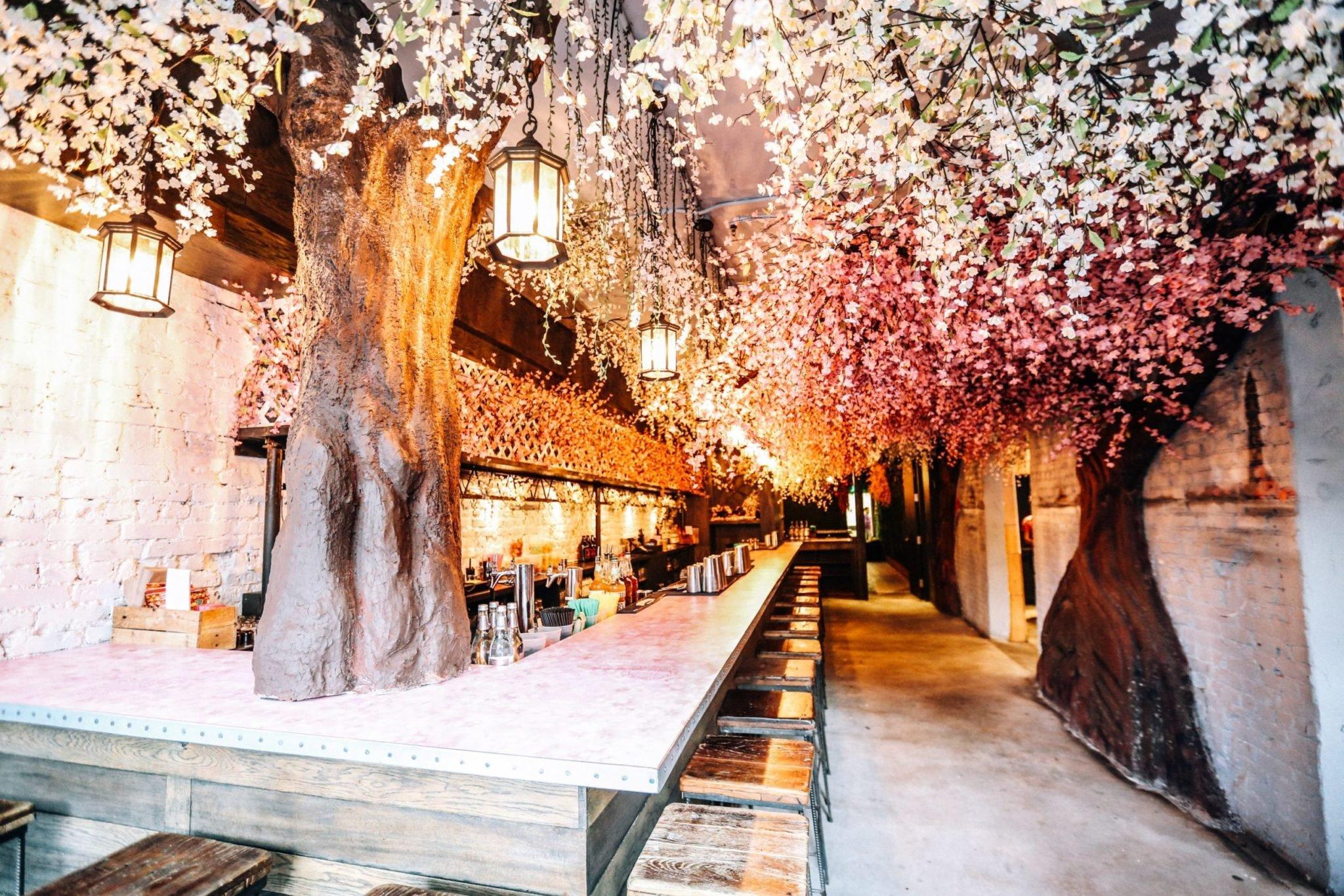 Cherry Blossom Pop Up Bar, Drink Company, cherry blossoms, Godzilla