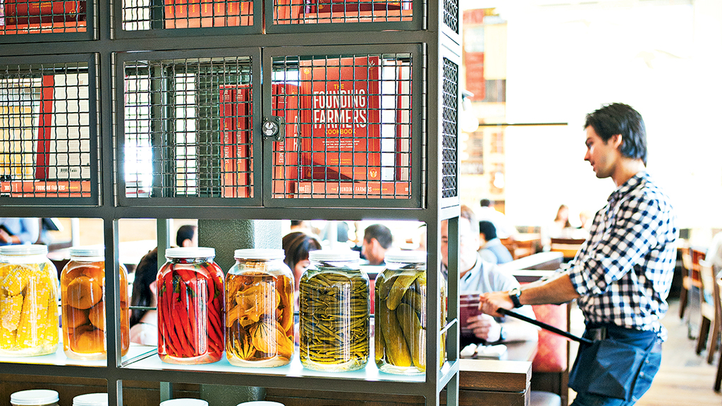 Pickles are among the offerings at Founding Farmers' DC-area spots. Photograph by Scott Suchman.