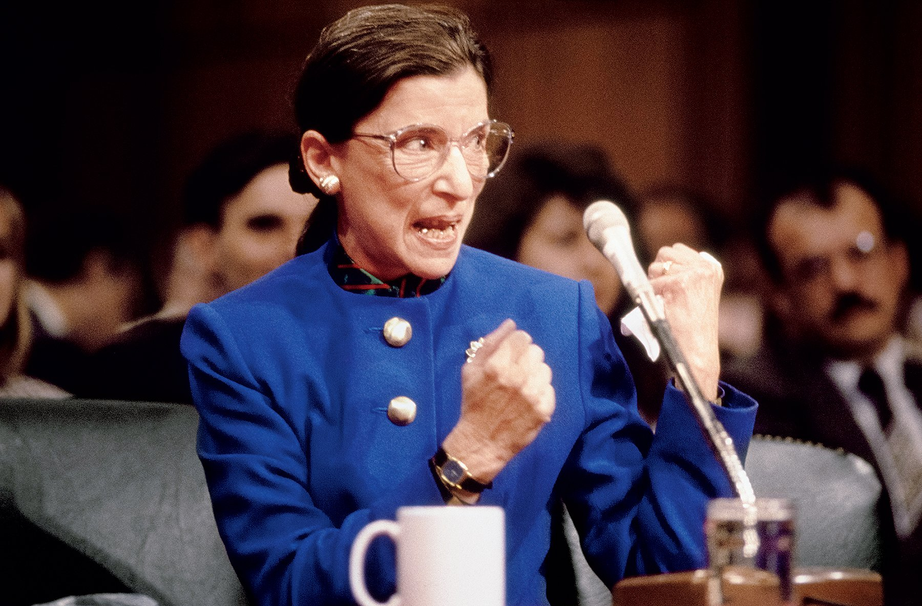 Ruth Bader Ginsburg at her 1993 Senate confirmation hearing. Photograph by Larry Downing/Newsweek.
