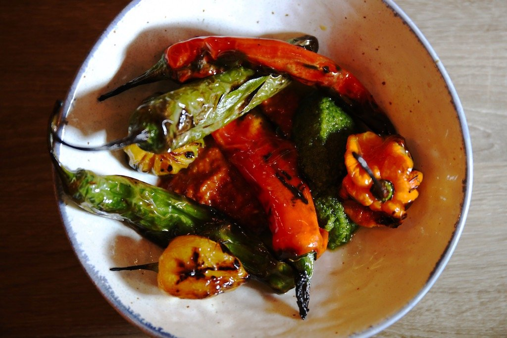 Hot peppers Sababa Mediterranean restaurant Cleveland Park.