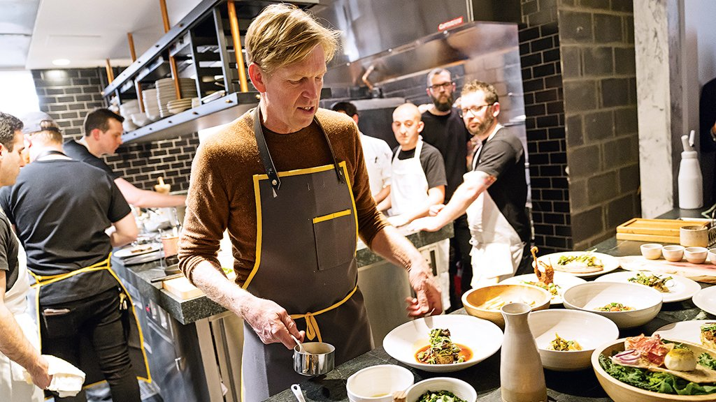 Spike Gjerde in the kitchen at A Rake's Progress. Photograph by Scott Suchman.