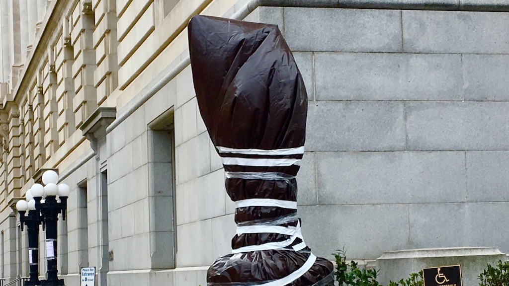 marion barry statue wrapped