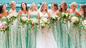 Take A Look At The Gorgeous Floral Print Bridesmaids Dresses at This Whimsical Maryland Wedding