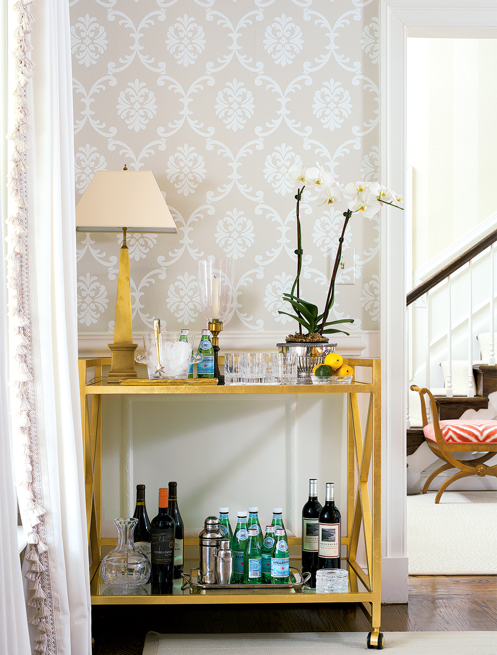 A bar cart greets guests. Photograph by Stacy Zarin Goldberg.