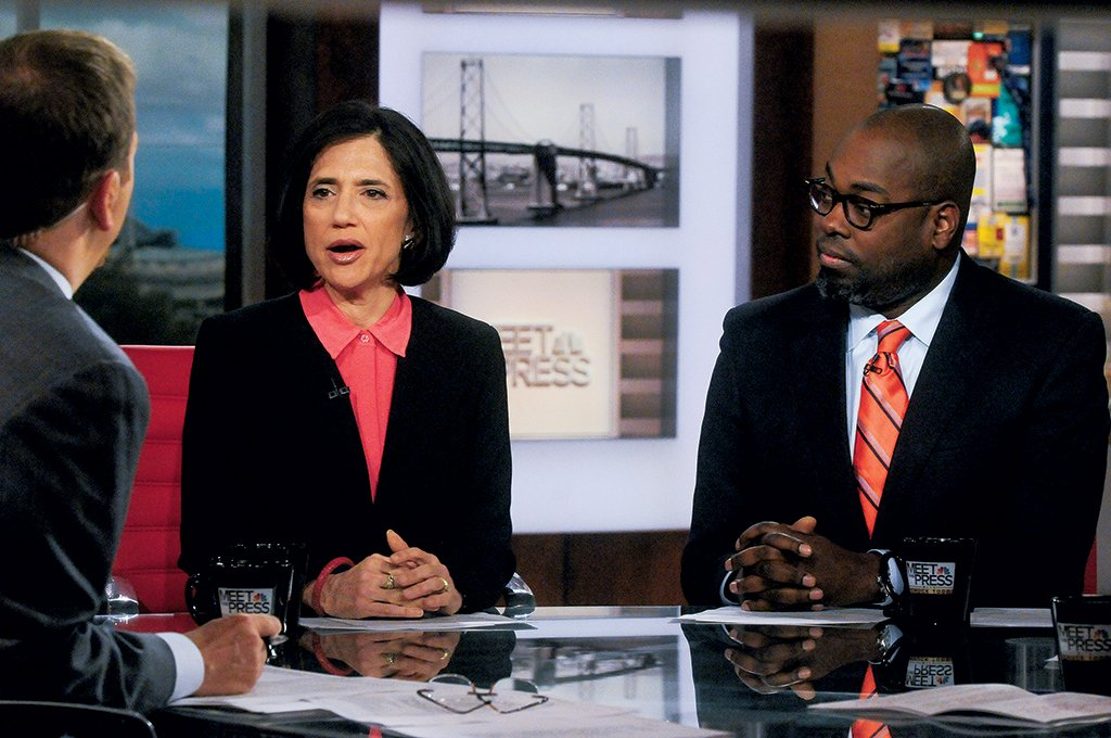 Voice of Change: Rubin makes her case on Meet the Press with host Chuck Todd. Photograph by William B. Plowman/NBC/NBC NewsWire via Getty Images.