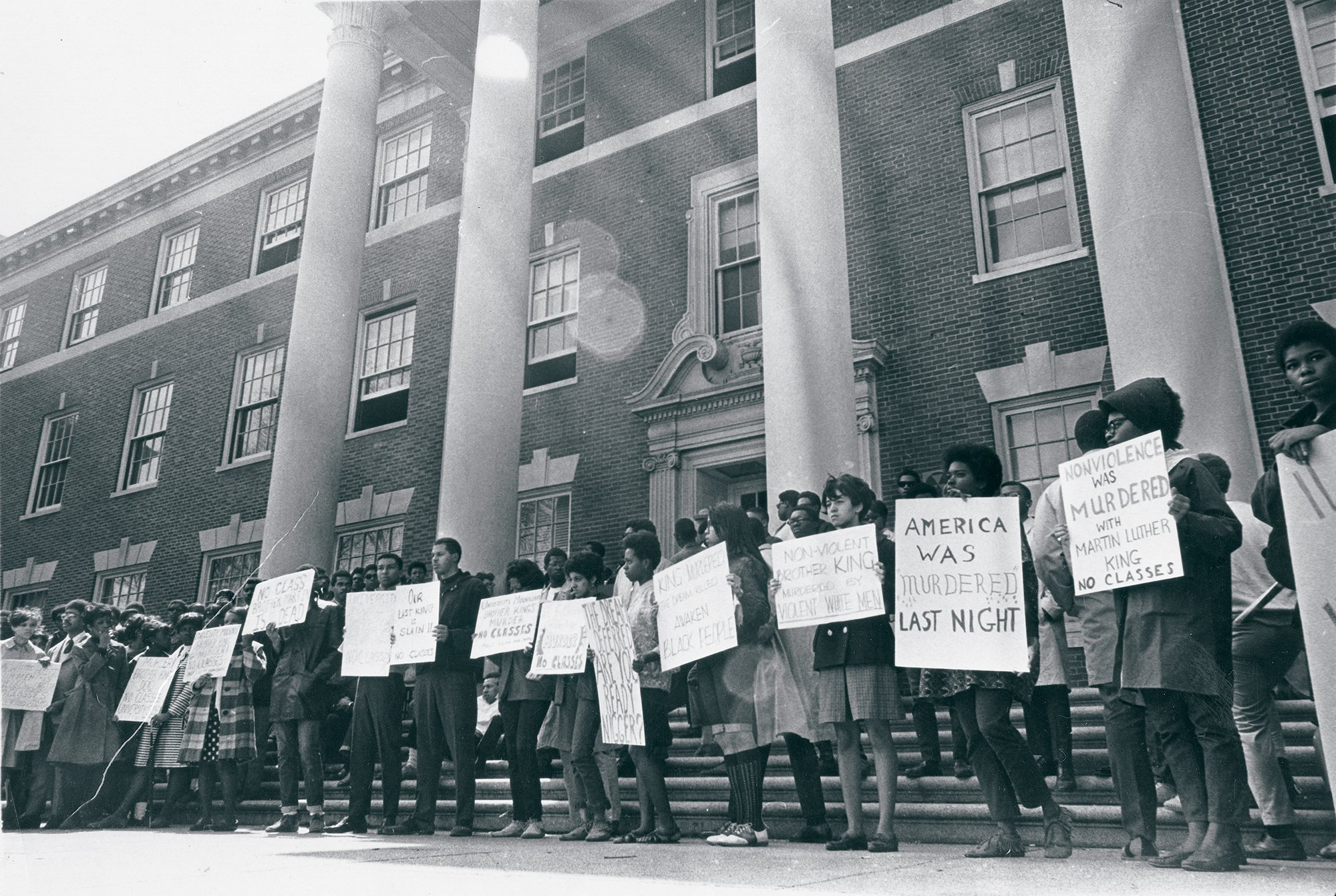 DC erupted after Martin Luther King Jr.'s assassination. Protesters on the campus of Howard University on April 5, 1968. Photograph of protestors by Washington Post, Reprinted with Permission of DC Public Library/Star Collection.