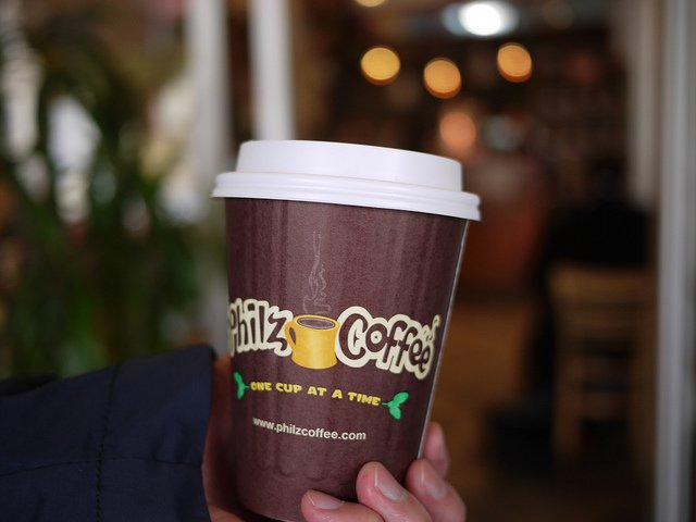 Philz Coffee's signature brown cup. Photograph by kennejima via Flickr Creative Commons.