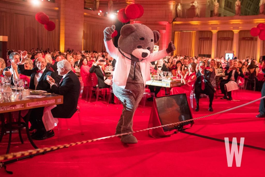 Dr. Bear wins the mascot race.