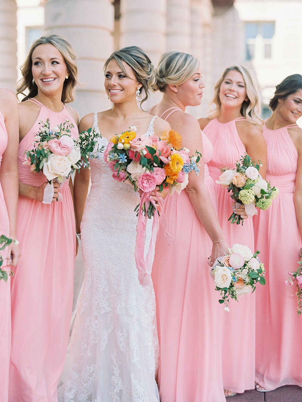 Bubblegum pink bridesmaids dresses added a burst of color to this bubblegum pink bridesmaids dresses wedding maryland maryland wedding annapolis wedding ball room wedding ombrellifo Image collections