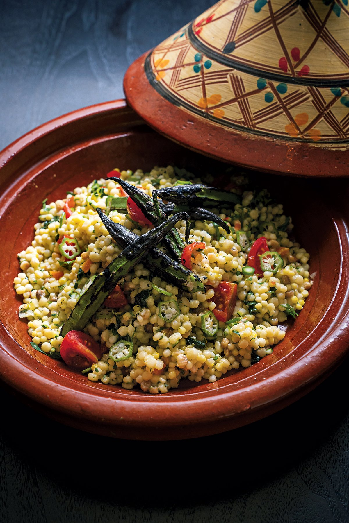 Couscous with charred okra at Sababa. Photograph by Scott Suchman.