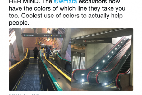 Metro Is Testing Color-Coded Escalator Handrails to Help Out Commuters
