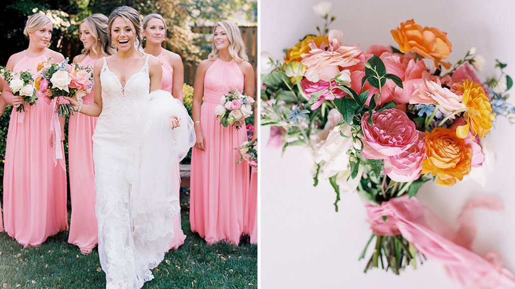 4ac1af4871f Bubblegum Pink Bridesmaids Dresses Added a Burst of Color to This Annapolis  Wedding