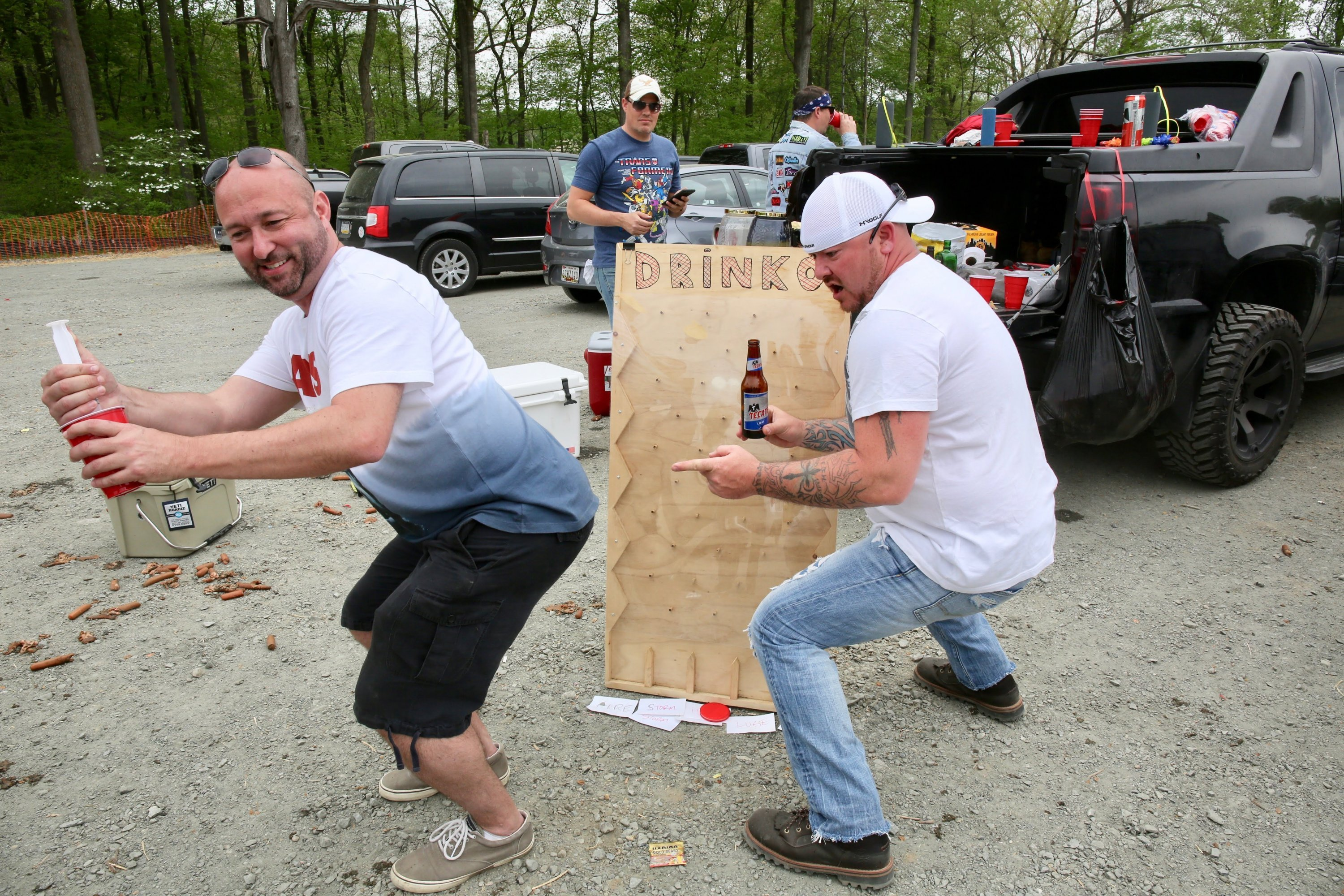The infamous Drinko board and its creator, Chris (left).