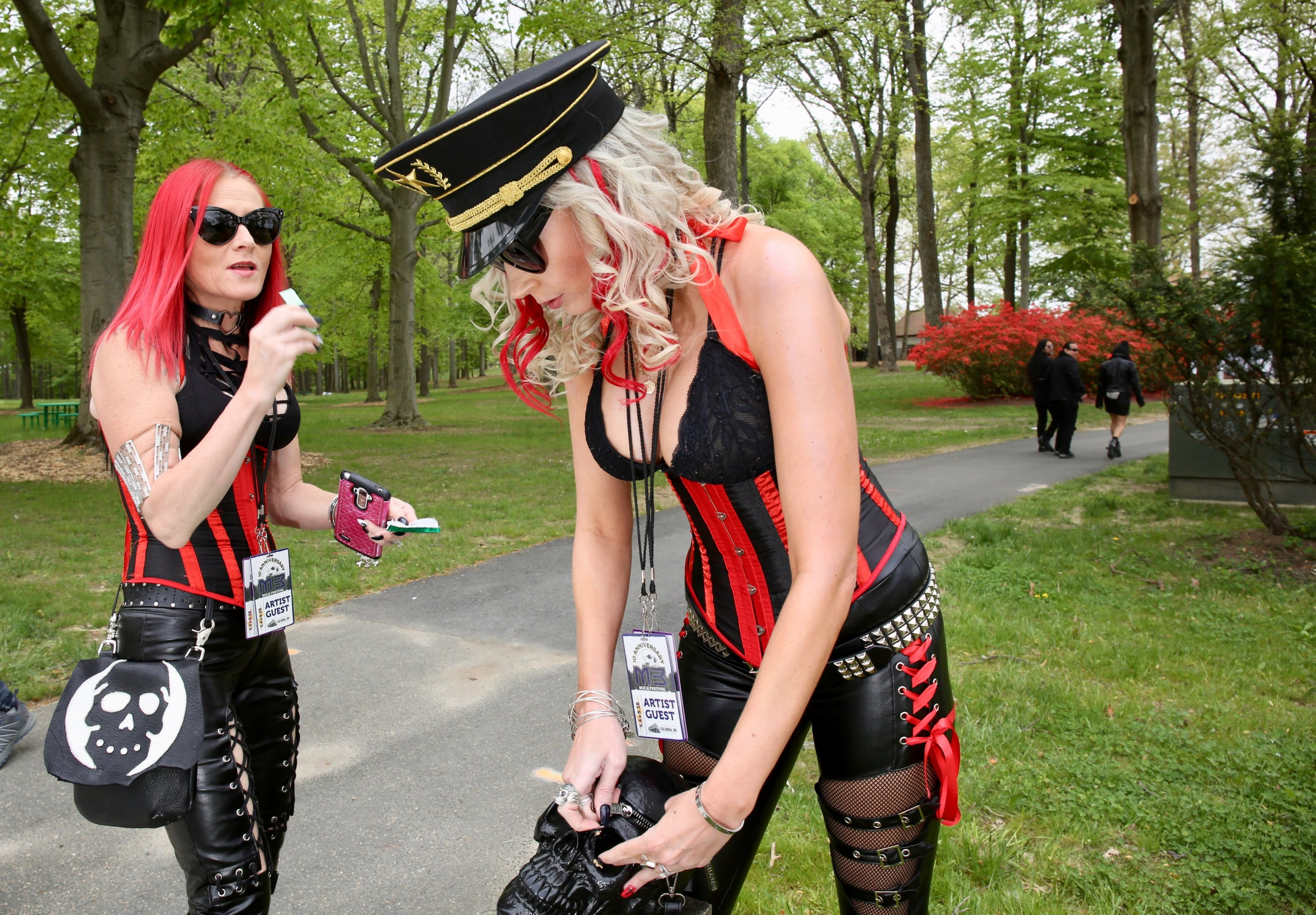 Tina Richardson and Angie Johnston arrive at the festival. They do concert merchandising for Live Nation and were guests of one of the performing bands, Faster Pussycat.