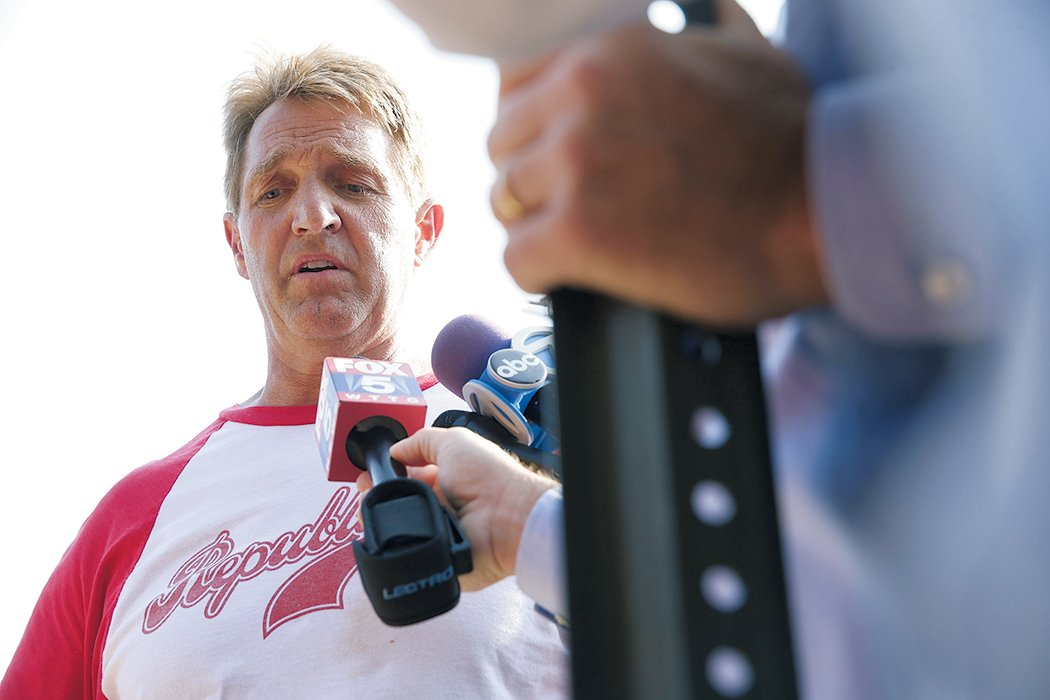 Senator Flake phoned Scalise's wife to tell her he'd been shot. Photograph of Flake by Alex Wong/Getty Images.