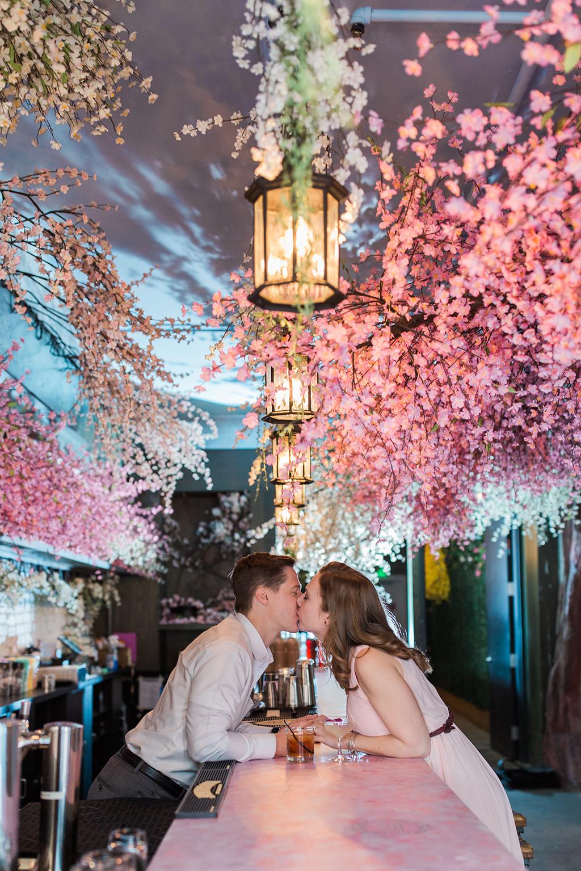 engagement photoshoot session cherry blossom pop-up bar washington DC
