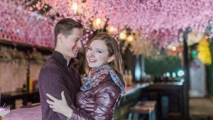 A Magical Springtime Engagement Session at DC's Cherry Blossom-Themed Pop-Up Bar