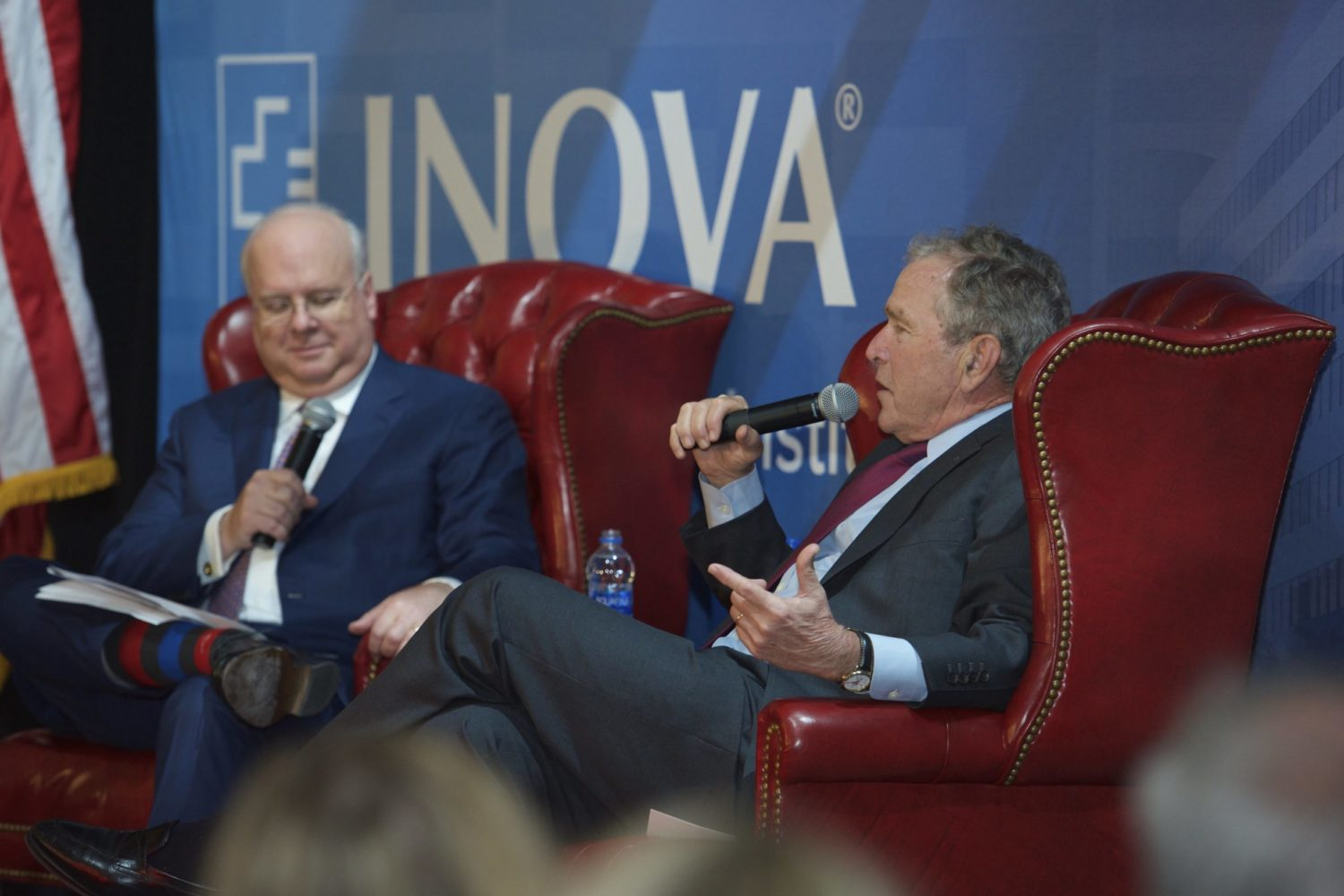 President George W. Bush, who has spotlighted cancer research after his presidency, was interviewed by his former advisor Karl Rove.