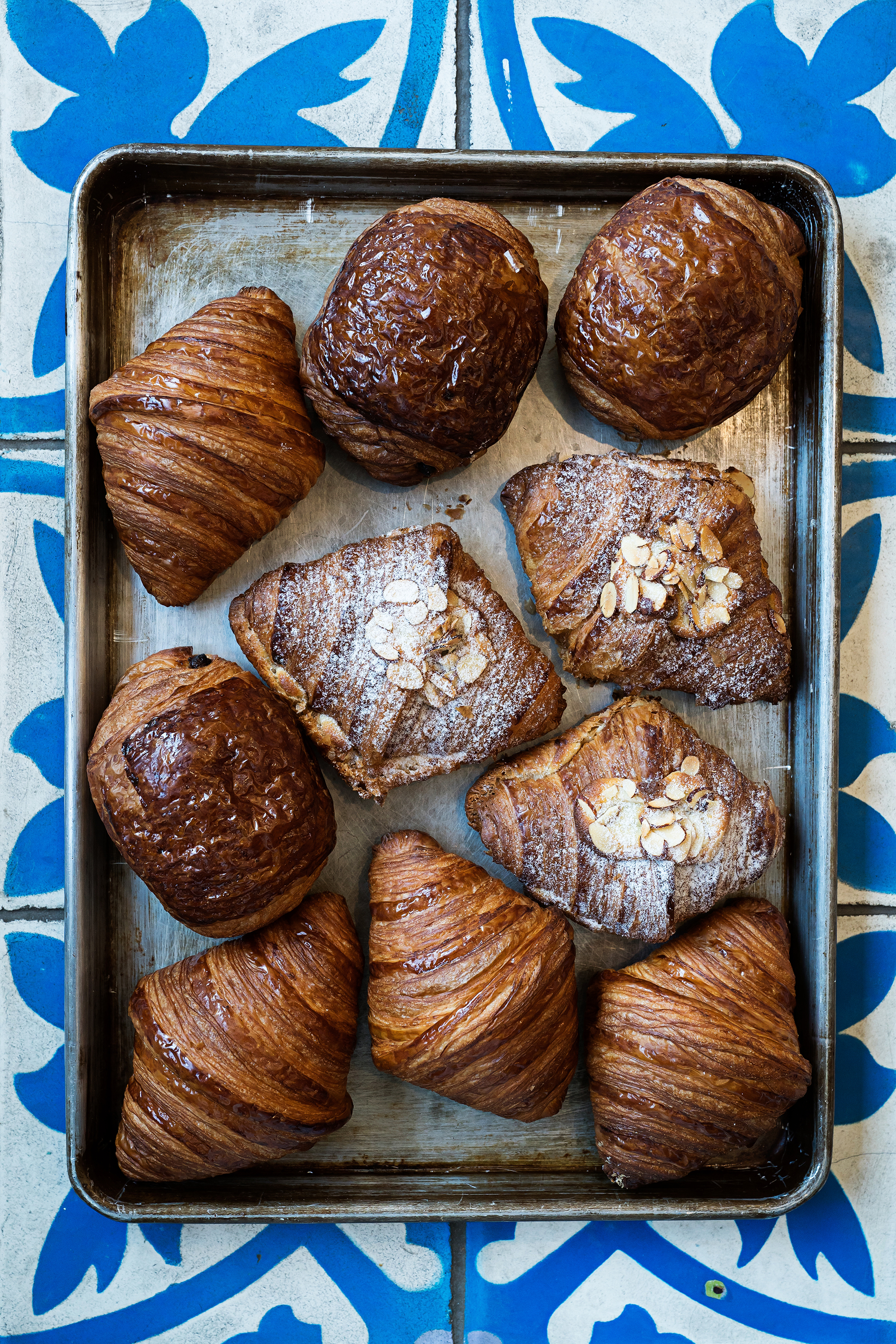 Butter, almond, and chocolate croissants at Pluma. Photograph by Scott Suchman.