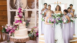 Lavender Bridesmaids Dresses and an Orchid-Covered Cake Gave a Virginia Wedding a Glamorous Touch