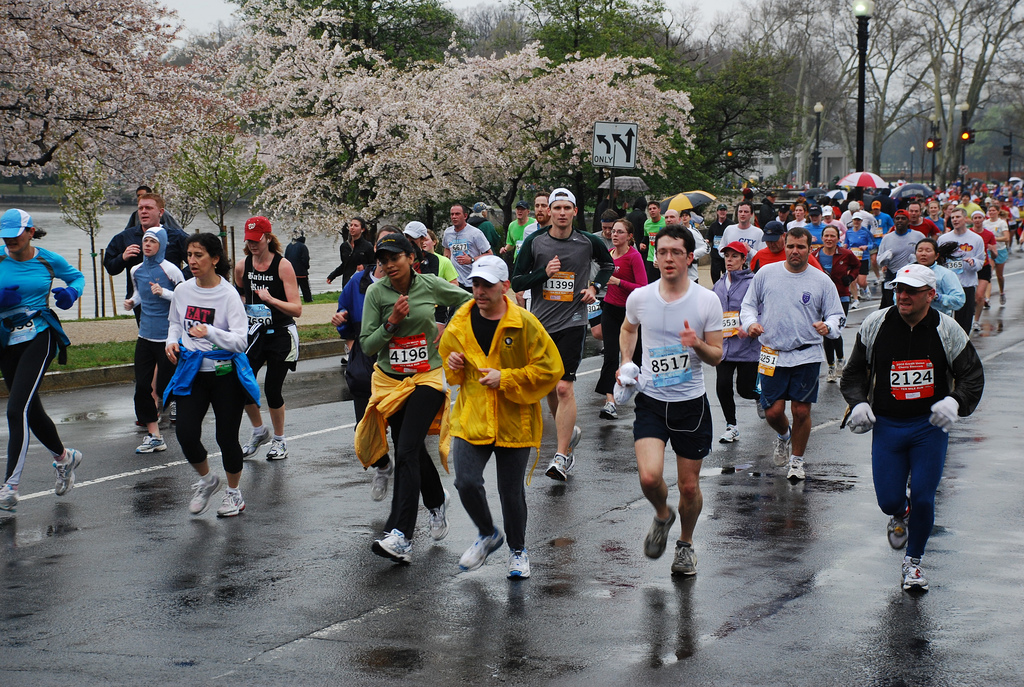 Runners in the Credit Union Cherry Blossom Ten Mile Run, 2008 National Cherry Blossom Festival. Photograph by Adam Fagen via Flickr Creative Commons.