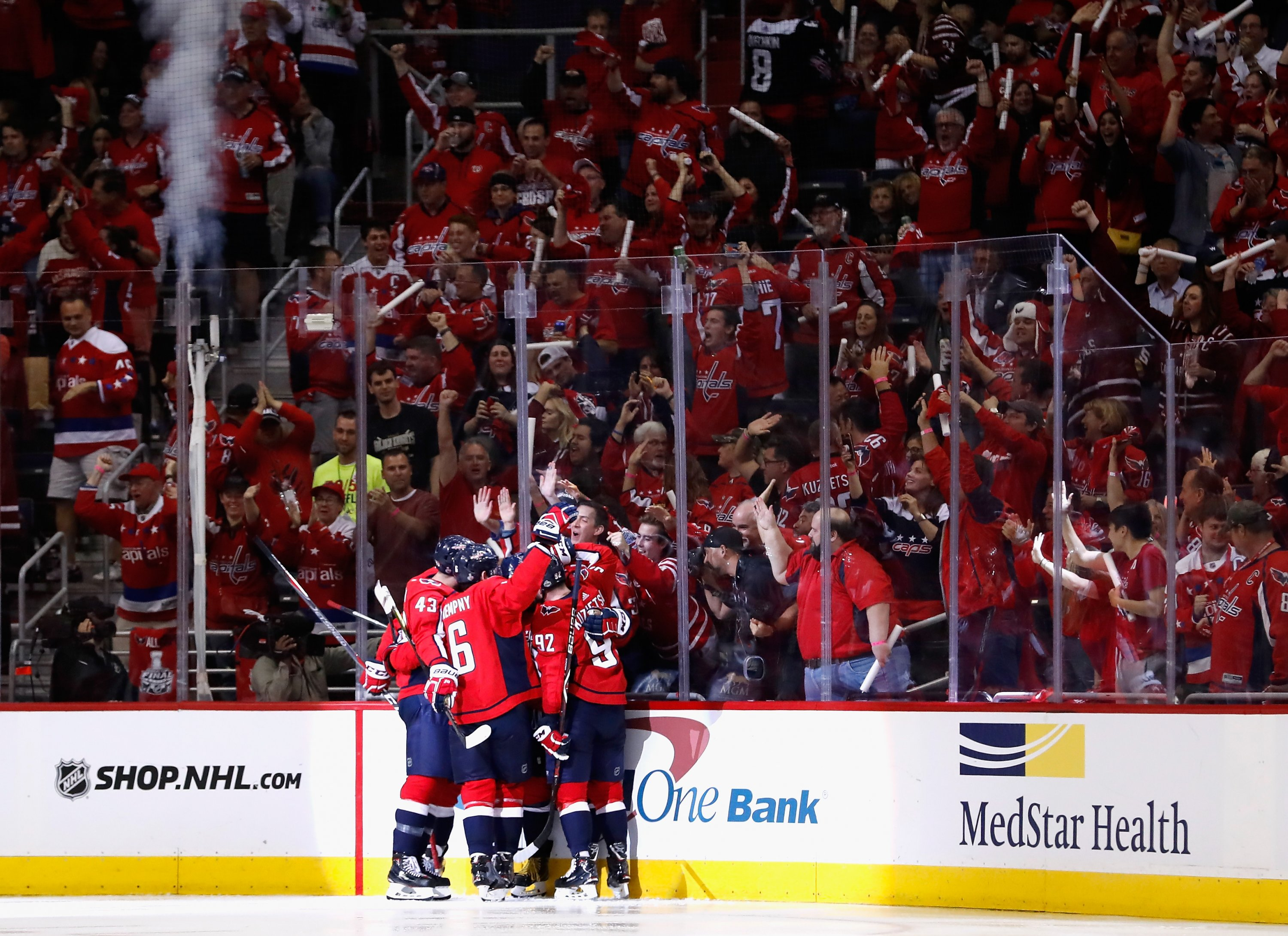The team celebrates after scoring a goal in Game 3. Patrick  McDermott Washington Capitals Photography. d5d3cfa55