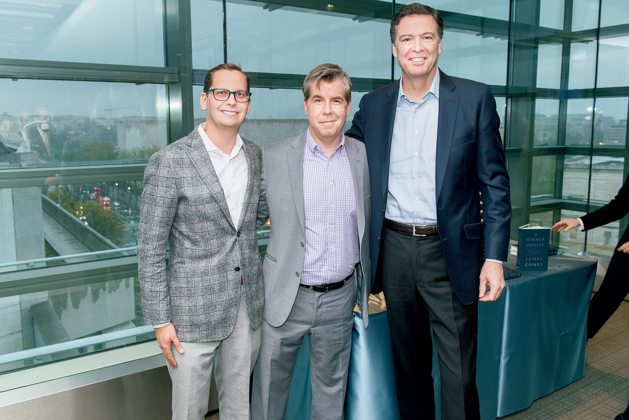 Javelin's Keith Urbahn and Matt Latimer with James Comey. Photograph by Dan Swartz.