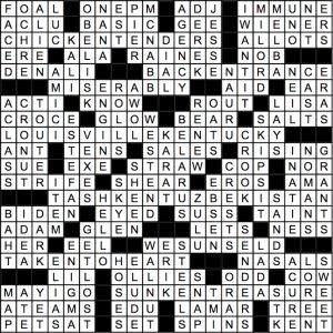 June 2018 Crossword Answer Key
