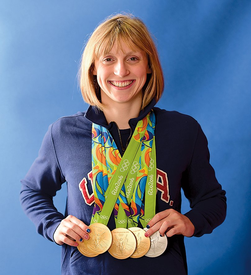 Ledecky, with her winnings at the 2016 summer Olympics, still swims locally with the Nation's Capital Swim Club when she's home from Stanford. Photograph by Harry How/Getty Images.
