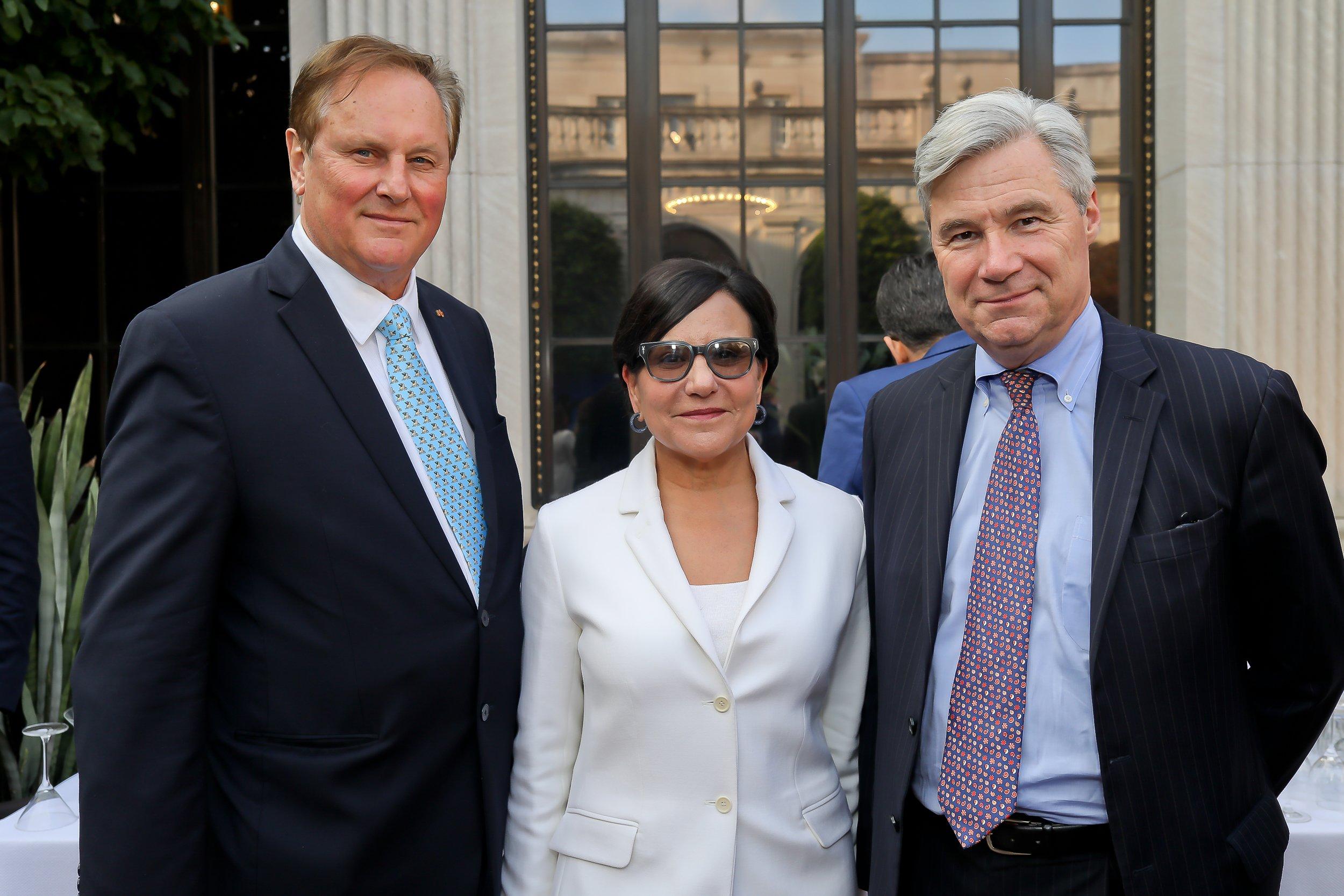 McLarty Associates Senior Advisor William Drozdiak, former Secretary of Commerce Penny Pritzker, and current Rhode Island Senator Sheldon Whitehouse.