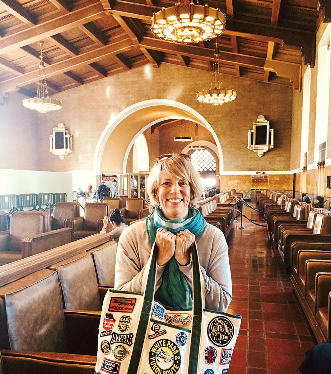 The author, shown at Los Angeles's Union Station, has taken just about every train route Amtrak offers—some more than once. Photograph by Jill Sharer.