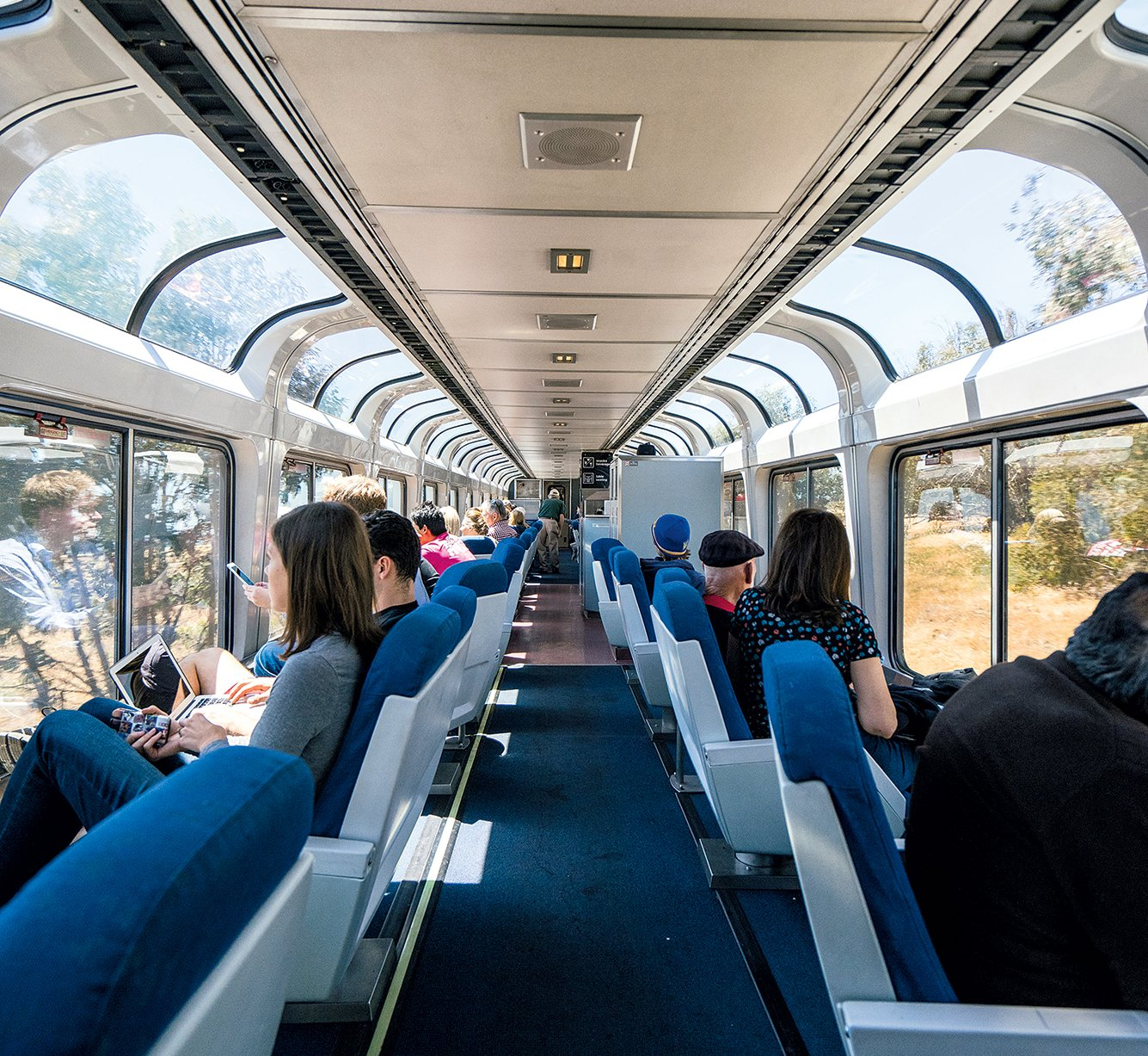 While double-decker trains with observation cars can't fit through the tunnels and under the wires found along the East Coast, they're common in wide-open spaces in the rest of the country. Photograph by Nigel Killeen/Getty Images.