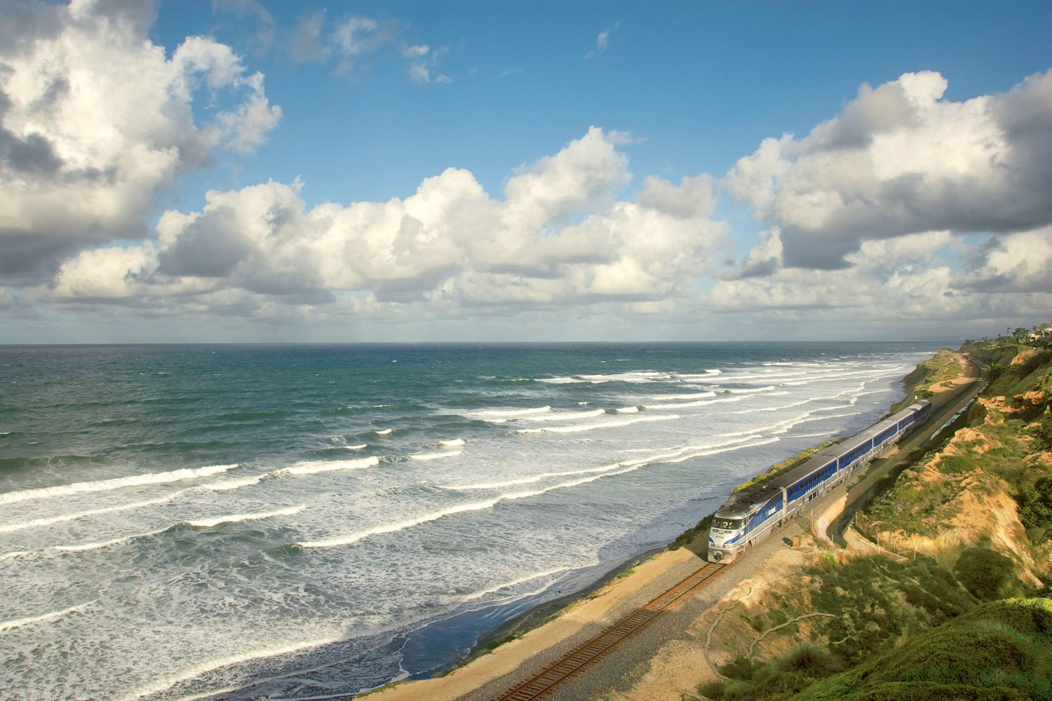 The Pacific Surfliner is just one of Amtrak's many scenic routes. Read on for more reasons to ride the rails. Photograph by Yury Miller/Alamy.