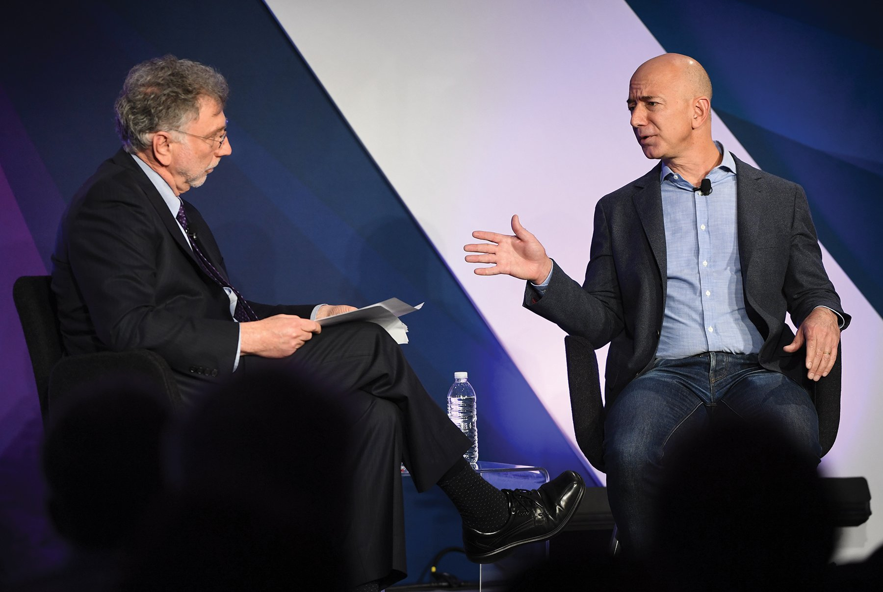 Post editor Marty Baron with owner Jeff Bezos. Photograph by Linda Davidson/Getty Images.