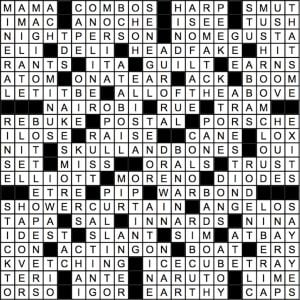 July 2018 Crossword Answer Key