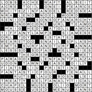August 2018 Crossword Answer Key