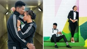 This Couple Found the Most Perfect Mural for Engagement Photos, Then Totally OWNED In Matching Tracksuits