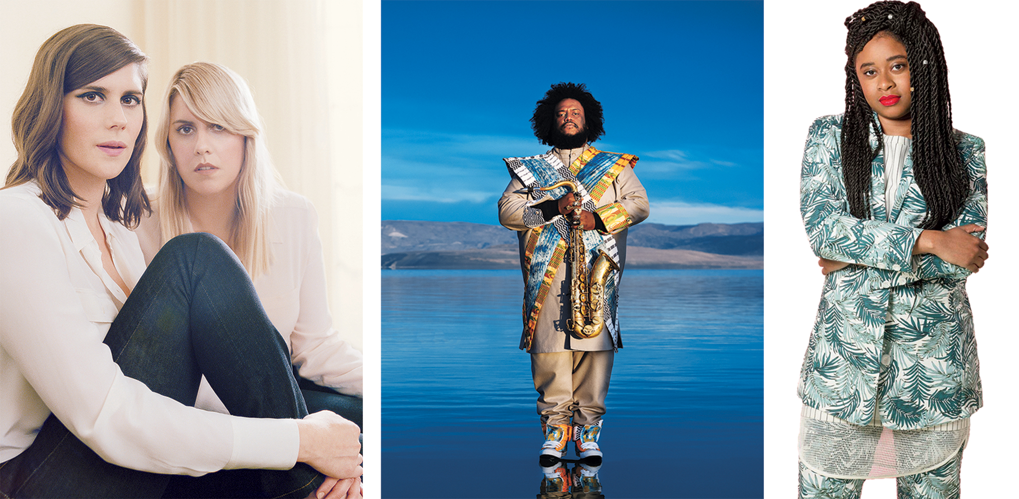 Left to Right: Kate and Laura Muleavy of Rodarte, Kamasi Washington, and Phoebe Robinson of 2 Dope Queens. Photograph of Rodarte by Autumn de Wilde. Photograph of Washington Courtesy of Sacks and Co. Photograph of Robinson by Charise Ash.