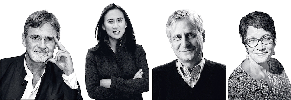 Left to right: Kai Bird; Celeste Ng; Jon Meacham; and Meg Medina. Photograph of Bird by Stephen Frietch. Photograph of Ng by Kevin Day Photography. Photograph of Meacham by Heidi Ross.Photograph of Medina by Penelope M. Carrington.