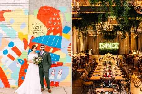 The Bride Walked Down an Aisle Lined with Colorful Persian Rugs in this One-of-a-Kind Union Market Wedding